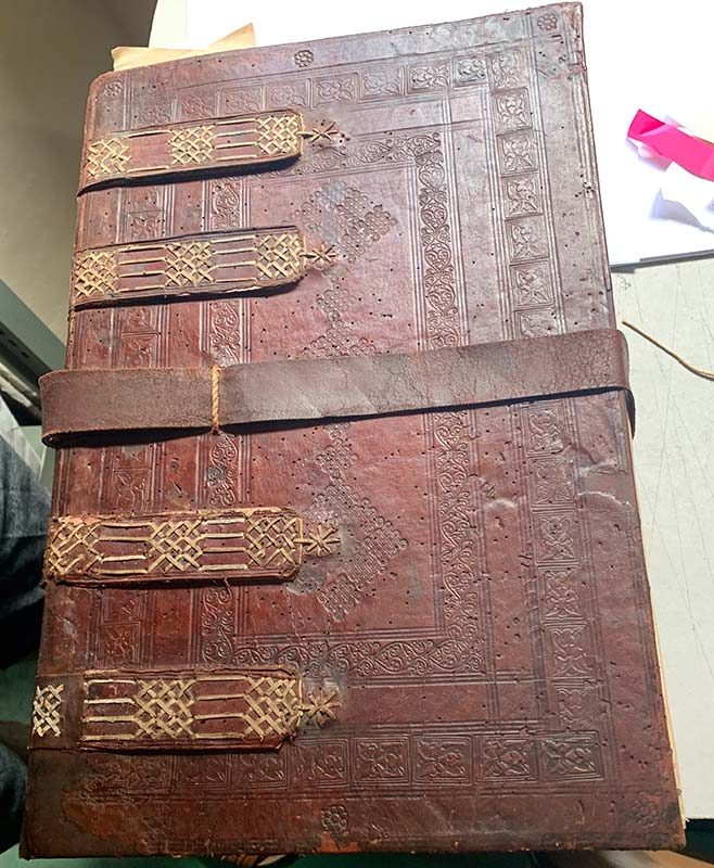 An original 17th-century oversized Archival Binding from one of the many archives students have access to